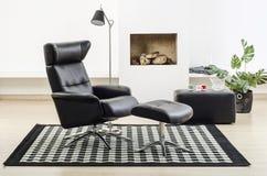 De moderne binnenlandse woonkamer van het ontwerphuis Royalty-vrije Stock Afbeeldingen