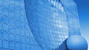 De moderne blauwe glasbouw Stock Foto