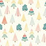 De moderne bomen van krabbelkerstmis voor sneeuwvlokken op een witte achtergrond Naadloze vectorpatroonachtergrond Perfectioneer  vector illustratie