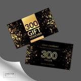 De moderne bon van de glamourgift met gouden licht, schittert en fonkelingen Stock Foto's