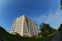 De moderne bouw en blauwe hemelen in het park Stock Foto