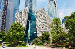 De moderne bouw, Guangzhou-Bibliotheek, stadsoriëntatiepunt, China stock afbeeldingen