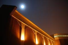 De moderne Bouw in Maanlicht en Mist Royalty-vrije Stock Foto