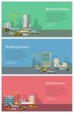 De moderne bouw Proces om Beton Te gieten Het vectorbanner bouw en concreting royalty-vrije illustratie