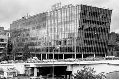 De moderne bouw van commerciële centrum` Zilveren stad `, Moskou de stad in, Rusland Stock Fotografie