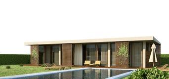 De moderne buitenkant van de huis 3d scène Stock Afbeelding