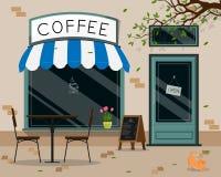 De moderne buitenkant van de koffiewinkel, openlucht het terras vlak ontwerp van de straatkoffie, vectorillustratie stock illustratie
