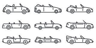 De moderne cabriolet geplaatste pictogrammen, schetsen stijl stock illustratie