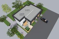 De moderne 3D bouw Stock Afbeelding