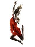De moderne dansers dansende vrouw isoleerde silhouet Stock Foto's