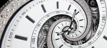De moderne diamant witte modieuze klok met wijzers en horlogemechanisme verdraaide aan surreal spiraal Tijdspiraal, het concept v royalty-vrije stock foto's