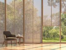De moderne eigentijdse woonkamer met houten 3d gordijn geeft terug stock illustratie