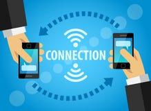 De moderne gadgets helpen om mensen te verbinden Stock Afbeelding