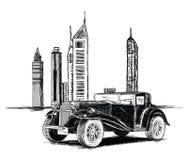 De moderne Gebouwen van Doubai en Uitstekende Auto Vectorillustratie Royalty-vrije Stock Foto's