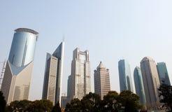 De moderne gebouwen van Shanghai Stock Foto
