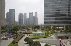 De moderne gebouwen van Shanghai Pudong Stock Foto's