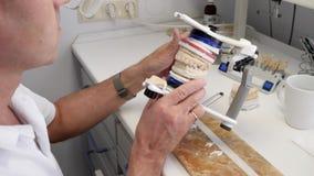De moderne geneeskunde, de vormen van de orthodontistmens verbetert beet op kunstmatige kaak in speciale tandapparaten stock videobeelden