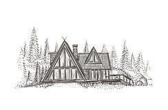 De moderne getrokken illustratie van het plattelandshuisjehuis hand Vector Royalty-vrije Stock Afbeeldingen
