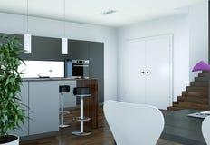 De moderne grijze illustratie van het keuken binnenlandse ontwerp Stock Fotografie
