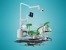 De moderne groene tandstoel met borax met verlichting en de monitor voor 3d het werk geven op blauwe achtergrond met schaduw teru stock illustratie