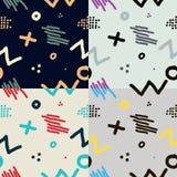 De moderne hand trekt abstracte naadloze patroonreeks Royalty-vrije Stock Afbeelding