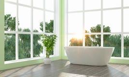 De moderne heldere 3D badkamers geeft terug Royalty-vrije Stock Foto