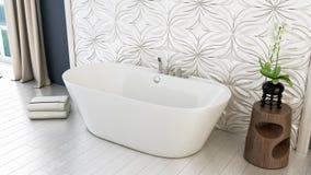 De moderne heldere 3D badkamers geeft terug Royalty-vrije Stock Fotografie