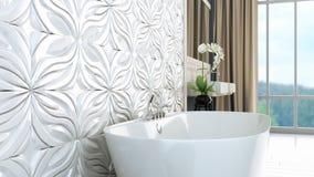 De moderne heldere 3D badkamers geeft terug Royalty-vrije Stock Foto's