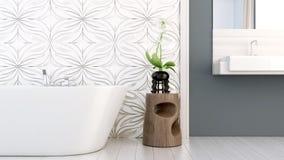 De moderne heldere 3D badkamers geeft terug Stock Fotografie