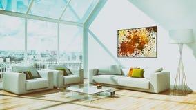 De moderne heldere 3D teruggevende illustratie van de binnenlandflat Stock Afbeelding