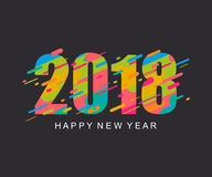 De moderne heldere Gelukkige kaart van het Nieuwjaar 2018 ontwerp Royalty-vrije Stock Foto's