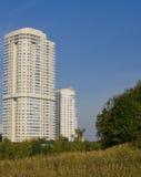 De moderne huizen van Moskou Stock Afbeelding