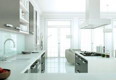 De moderne illustratie van het keuken binnenlandse ontwerp Stock Foto's