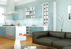 De moderne illustratie van het keuken binnenlandse ontwerp Royalty-vrije Stock Afbeeldingen