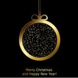De moderne kaart van de Kerstmisgroet met gouden document Kerstmisbal Stock Afbeeldingen