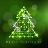 De moderne kaart van de Kerstmisgroet, uitnodiging met verlichte sierkerstmisboom, Stock Afbeeldingen