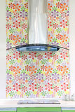 De moderne kap van het huiskooktoestel met elektrisch fornuis en bloembehang Royalty-vrije Stock Afbeeldingen