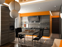 De moderne keuken Stock Afbeelding