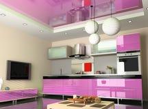 De moderne keuken Stock Afbeeldingen