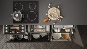 De moderne keuken hoogste mening, opende laden en fornuis met het koken p stock illustratie