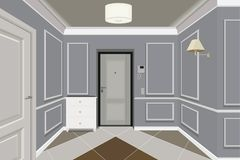 De moderne Klassieke Uitstekende Flat van Hall Hallway Corridor In Old Gangillustratie vector illustratie