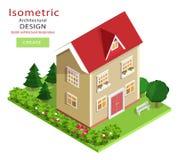 De moderne kleurrijke gedetailleerde isometrische bouw Grafisch 3d isometrisch vectorhuis met groene werf Stock Afbeelding