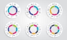 De moderne kleurrijke infographic reeks van cirkelpijlen Vectormalplaatjeillustratie vector illustratie