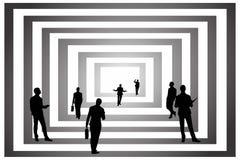 De moderne kunsten van bedrijfskunstsilhouetten abstrack bouwen zwart wit royalty-vrije illustratie