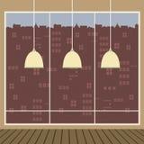 De moderne Lampen van het Ontwerpplafond met Breed Glasvenster stock illustratie