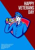De moderne Militair Bugle Greeting Card van de Veteranendag royalty-vrije illustratie