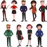 De moderne mooie mensen kleedden zich in in kleren royalty-vrije illustratie