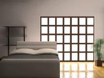 De moderne Nacht van de Slaapkamer Stock Afbeeldingen