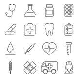 De moderne Pictogrammen en de Symbolen van de Lijn Medische Behandeling Stock Foto's