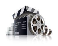De moderne Professionele Filmcamera met Mattebox en volgt Nadruk op Abstracte Ruimteachtergrond Doos van de film de zwarte film V vector illustratie